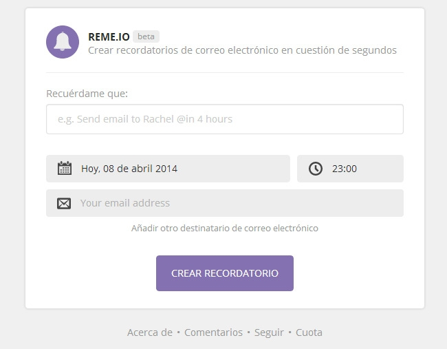 Crear recordatorios via Email