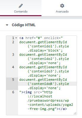 Elementor javascript codigo HTML