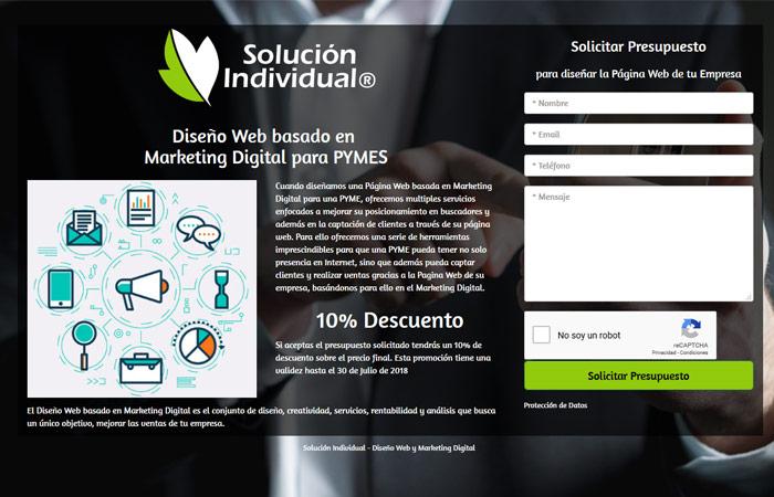 Landing Page de promoción de Diseño web empresa